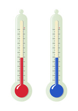 Set Of Stylized Room Thermometers With Different Temperature Readings. Isolated On A White Background. Vector Illustration.