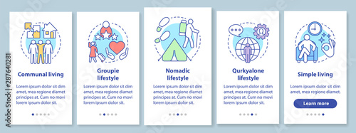Photo Lifestyle types onboarding mobile app page screen with linear concepts