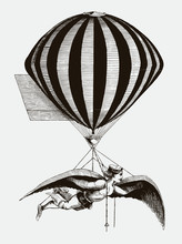 Historical Aerialist Wearing Wings While Suspended From A Balloon. Illustration After A Woodcut From The 19th Century