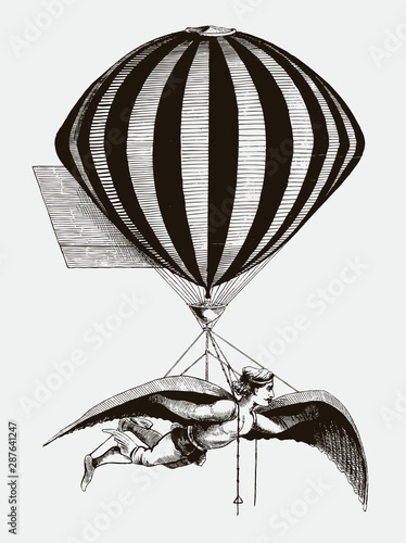 Photo Historical aerialist wearing wings while suspended from a balloon