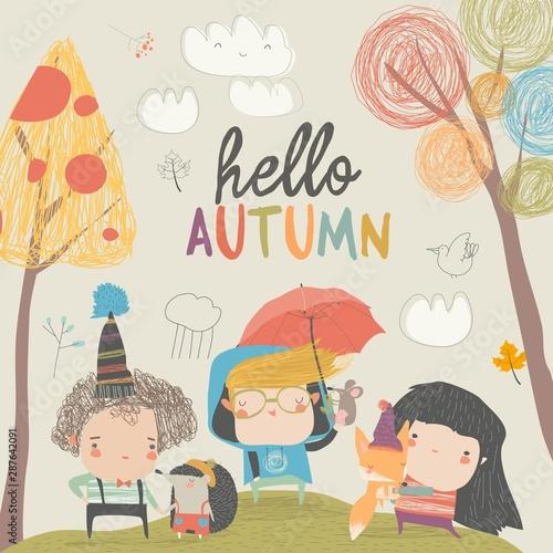 Cute children meeting autumn with little animals