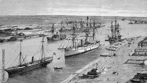 Fotografía The Suez Canal at port Said, Egypt