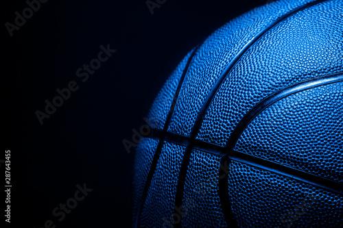 Fotografia  Closeup detail of blue basketball ball texture background
