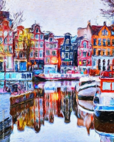 Oil painting modern art Amsterdam, Netherlands Wallpaper Mural