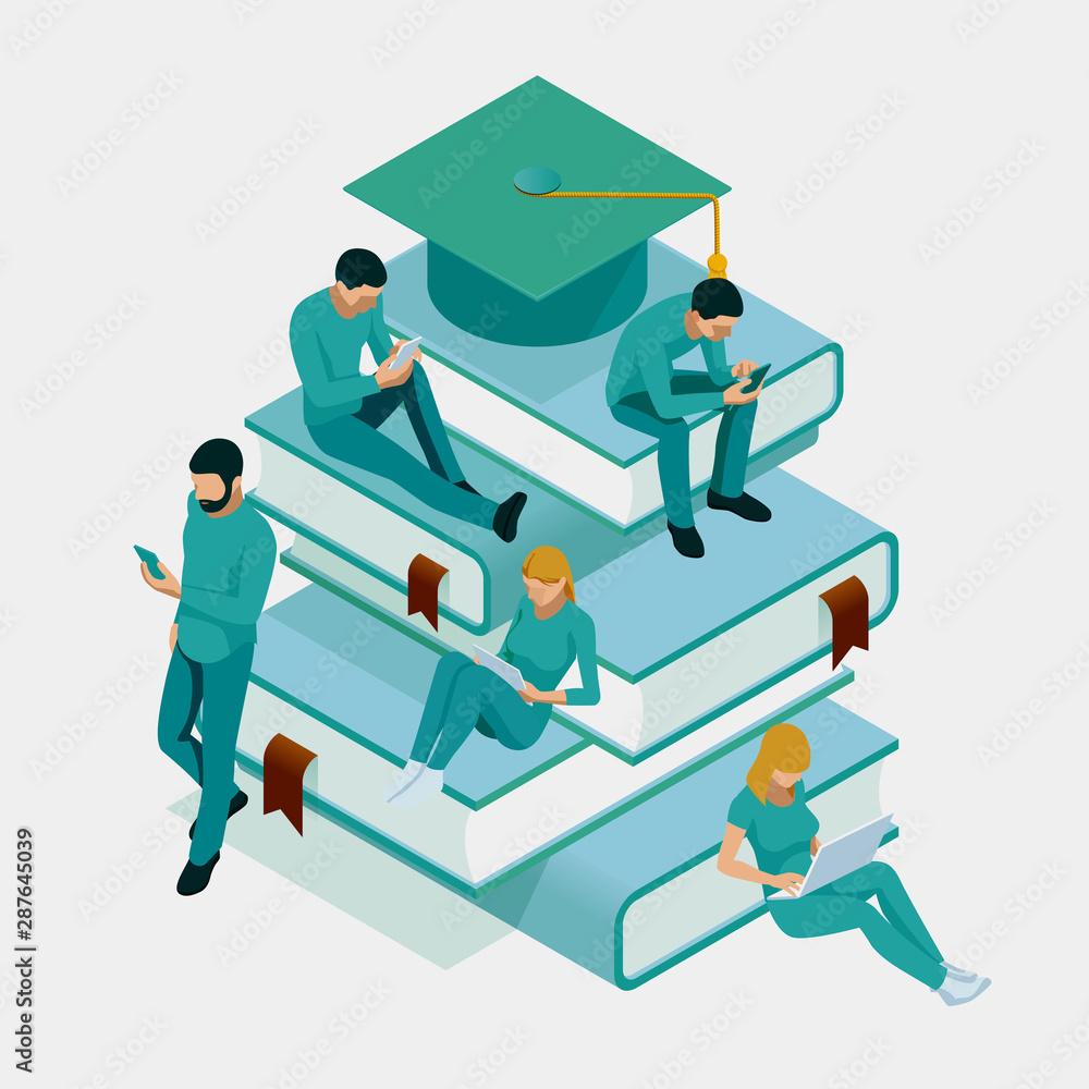 Fototapety, obrazy: Isometric Training, Online Learning, Webinar, Online Education, Business Training. Flat Illustration Knowledge Expertise Intelligence Learn Concept