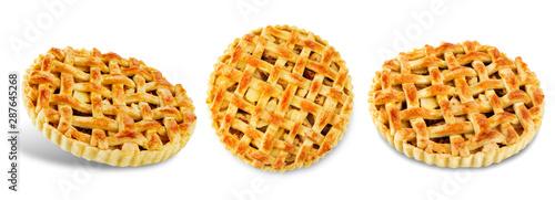 Apple pie on a white isolated background Billede på lærred