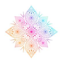Gradient Mandala On White Isol...