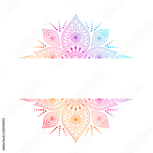 Fotobehang Boho Stijl Colorful intricate mandala with central white ribbon for copy space incorporating different symbols in a geometric pattern, vector design