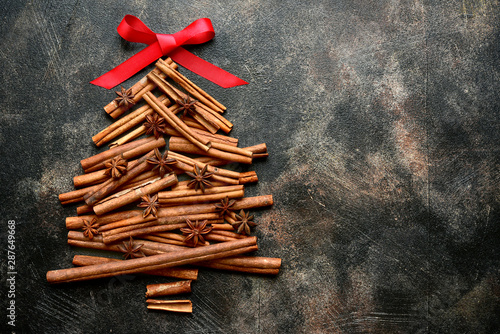 Abstract christmas tree made from cinnamon sticks Fototapeta
