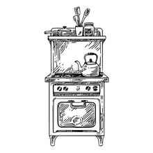 Vintage Stove With Kettle. Sketch. Engraving Style. Vector Illustration.