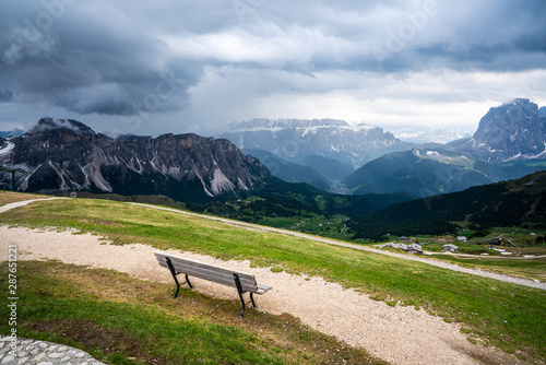 Spectacular view of the top of Sceceda  mountains, Dolomites Italy Canvas Print