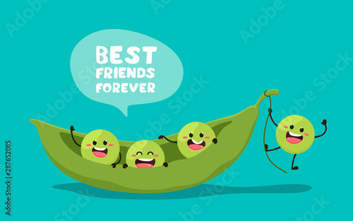 Green young peas with the slogan Best friends forever. Vector illustration in cartoon style. . Cheerful peas.