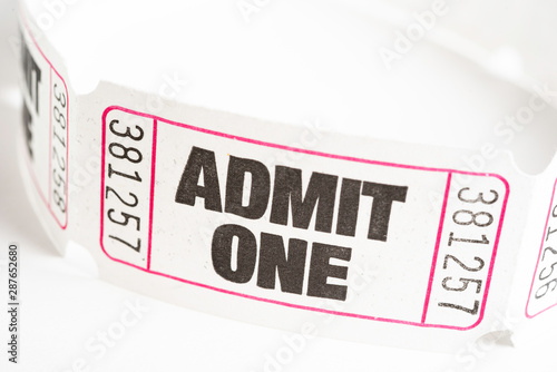 Admit One Paper Ticket Wallpaper Mural