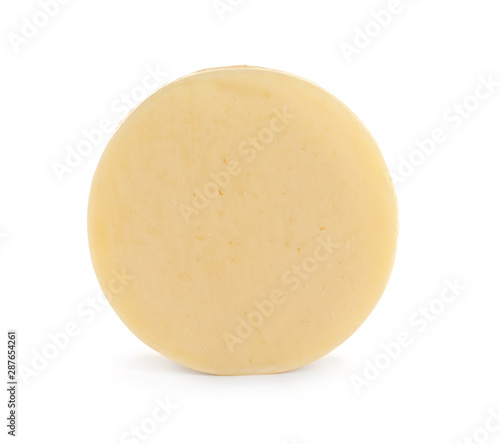 Fotografía Head of tasty fresh cheese on white background