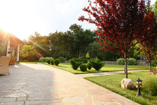Picturesque Landscape With Beautiful Green Garden Near House On Sunny Day