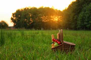Picnic basket with snacks on green grass in park