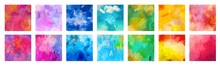 Big Set Of Bright Colorful Watercolor Background For Poster, Brochure Or Flyer