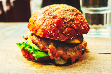 Delicious Burger On Wooden Boa...