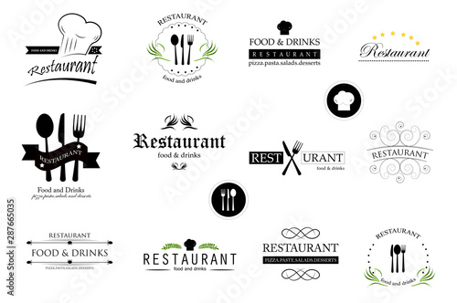 Fotografia  Food And Restaurant Logo Set - Isolated On White Background