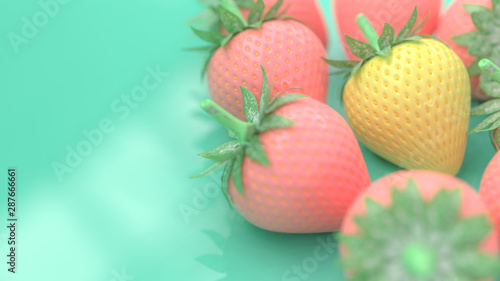 Yellow strawberry surrounded by a pink strawberry - 287666661