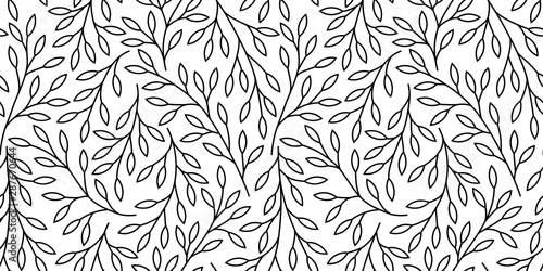Fototapety, obrazy: Elegant floral seamless pattern with tree branches. Vector organic background.