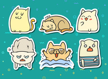 Set Of 6 Sticker Doodle Cats W...