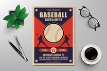 Baseball Tournament Flyer Template Retro Design Vector