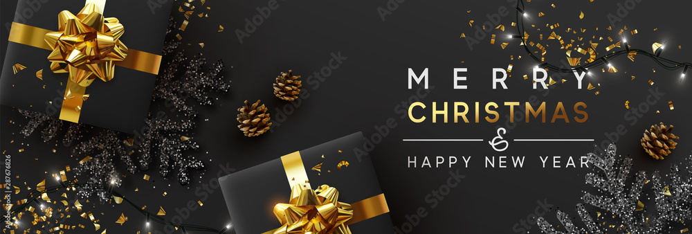 Fototapeta Christmas banner. Background Xmas design of sparkling lights garland, with realistic gifts box, black snowflake and glitter gold confetti. Horizontal christmas poster, greeting cards, headers, website