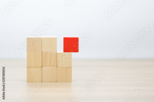 Fotomural  Wooden block,wood cubes Arrange stacking with out graphic for Business concept growth and success process