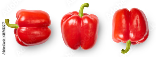 Red peppers isolated on white background. Top view. - 287683217