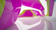 canvas print picture - Abstract dynamic interior with colored gradient smooth objects. 3D illustration and rendering