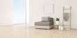Leinwanddruck Bild - View of living room in minimal style with sofa and small side table on wood laminate floor. Perspective of interior design on sea view background.   3D rendering.