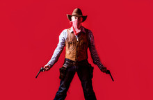 Man Wearing Cowboy Hat, Gun. West, Guns. Portrait Of A Cowboy. Owboy With Weapon On Red Background. American Bandit In Mask, Western Man With Hat. Portrait Of Farmer Or Cowboy In Hat