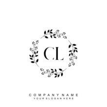 Letter CL Surrounded By Beautiful And Elegant Flowers And Leaves. Wedding Monogram Logo Template. Fashion Logo Template Vectors,