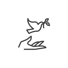Hand And Pigeon Line Icon. Linear Style Sign For Mobile Concept And Web Design. Dove With Olive Branch And Hand Outline Vector Icon. Freedom And Peace Symbol, Logo Illustration. Vector Graphics