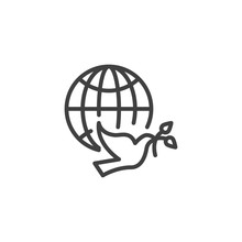 Dove Of Peace Line Icon. Linear Style Sign For Mobile Concept And Web Design. Pigeon With Olive Branch And World Globe Outline Vector Icon. Freedom Symbol, Logo Illustration. Vector Graphics