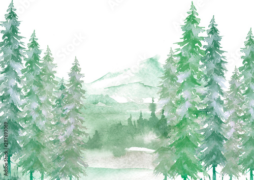 Foto auf Leinwand Olivgrun Watercolor forest landscape, green Background for your design. With vintage drawings snow tops, mountains, pine forest, pine, fir, cedar, fir. Forest, wilderness, suburban landscape.Art illustration