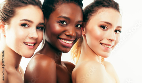 Obraz different nation woman: african-american, caucasian, asian together isolated on white background happy smiling, diverse type on skin, lifestyle people concept - fototapety do salonu