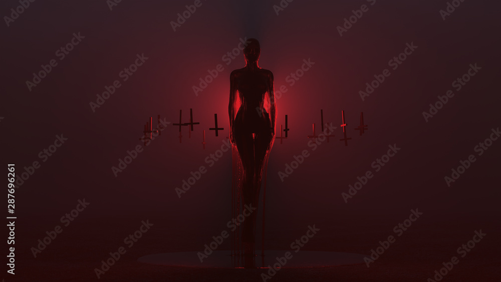 Fototapety, obrazy: Evil Spirit Ghost Demon Floating Evil Blood Queen Vampire Dripping in Blood with Upside Down Floating Crosses Abstract Demon in a Red Foggy Void front View 3d illustration 3d render