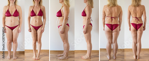 Fotografía Woman posing at home before and after weight loss diet