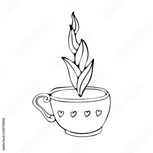 hand drawn coffee cup sketch and tea vector illustration black and white vector illustration drawn by line isolated on white background espresso cappuccino voice latte irish mocha buy this stock vector adobe stock