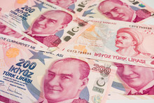 The Highest Money Denominations Of The Republic Of Turkey. Close Up Two Hundred Turkish Lira Banknotes.