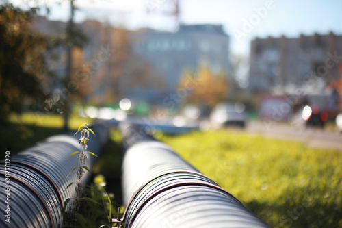 Industrial pipes on street construction Canvas-taulu