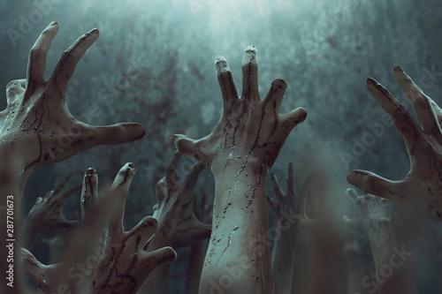 Fényképezés Bloody zombie hands, halooween theme