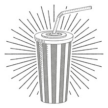 Cola/ Soda With A Straw - Black And White Illustration/ Drawing
