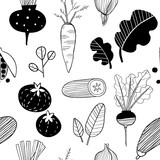 Ręcznie rysowane doodle warzywa. Szkic styl wektor wzór - 287704470