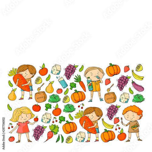 Deurstickers Magische wereld Children eating healthy food. Sport, fitness.