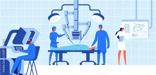 Robotic Surgery Medical Operation for Patient. Fototapeta