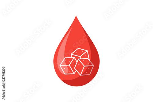 Cuadros en Lienzo Blood drop with sugar pieces inside