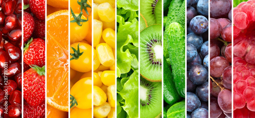 Fruits and vegetables. Background of fresh food - 287710031